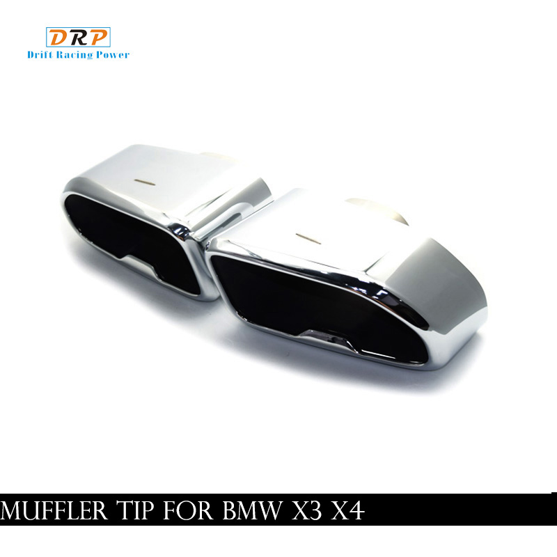 Hotsell One pair chrome black/ silver stainless steel square mouth car exhaust tip muffler tail fit BMW X series X3 X4 in 2019y image