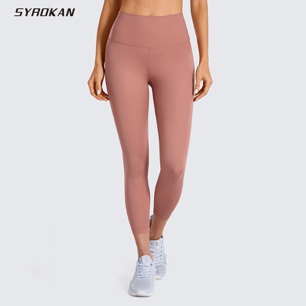 SYROKAN Women's Hugged Feeling High Waist Squat-Proof Capri Cropped Mesh Leggings 21