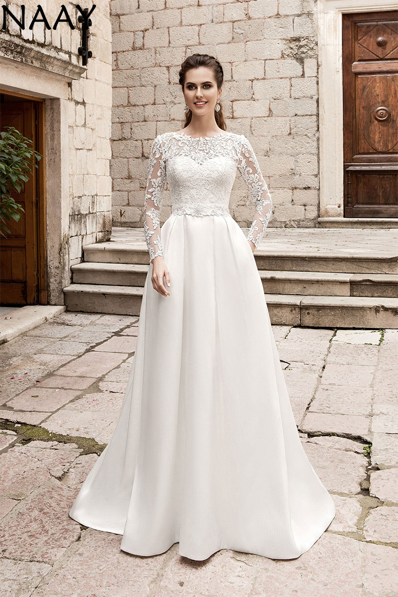 NAAY 2020 Elegant Wedding Dresses Long Sleeves Lace Appliques Wedding Gowns Vintage Bride Dress Plus Size Vestido De Novia