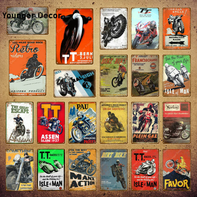 Dirt Bike Metal Poster Retro Motorcycle Races Plaque Wall Art
