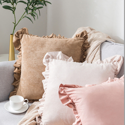 Szczotkowana poszewka na poduszkę poszewka dekoracyjna z falbanką miękka gładka tekstura świąteczna poszewka na poduszkę do sypialni wiosna 45x45cm w Poszewka na poduszkę od Dom i ogród na