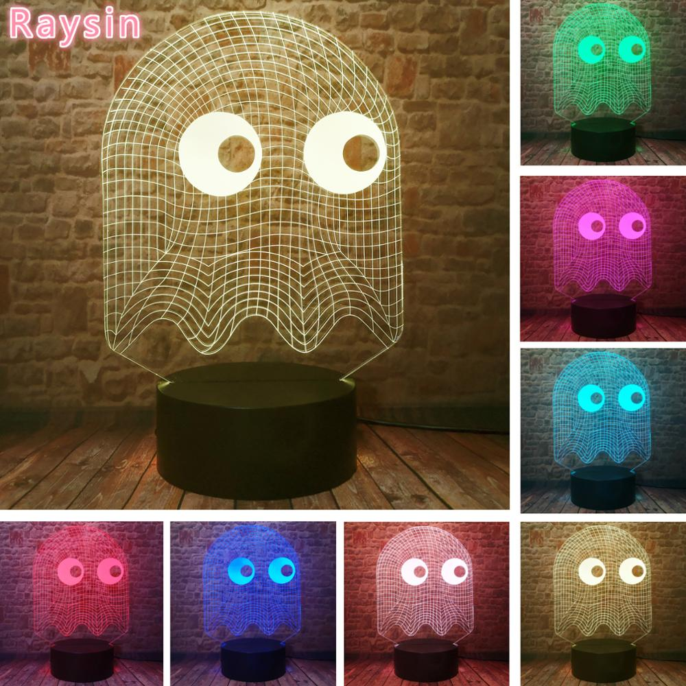 Arcade Game Pac Man Blinky Ghost Light 7 Colors Change RGB Table Lamp Child Kids Sleeping Decor Kids Adults Xmas Birthday Gifts