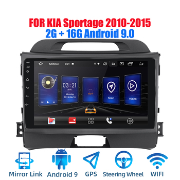 2din Android 9.0 Ouad Core PX6 Car Radio Stereo For KIA Sportage 2010-2015 GPS Navi Audio Video Player Wifi BT HDMI DAB+ RDS image