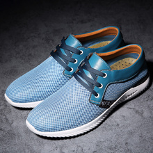 CASOIPRA Men Mesh Casual Shoes Breathable Soft Lace Up Shoes Blue Fashion Men Sneakers Summer Tenis Masculino Adulto Walking zanvllchy men shoes 2018 summer soft breathable men casual shoes lace up high quality couple flat mesh ultra boost tenis shoes