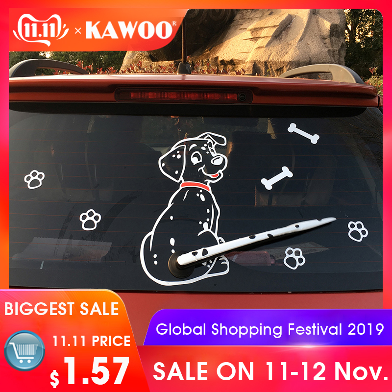 KAWOO Fashion Car Cartoon Animal Sticker Moving Tail Cute Puppy Dog Auto Stickers Reflective Car Styling Rear Wiper Decals-in Car Stickers from Automobiles & Motorcycles