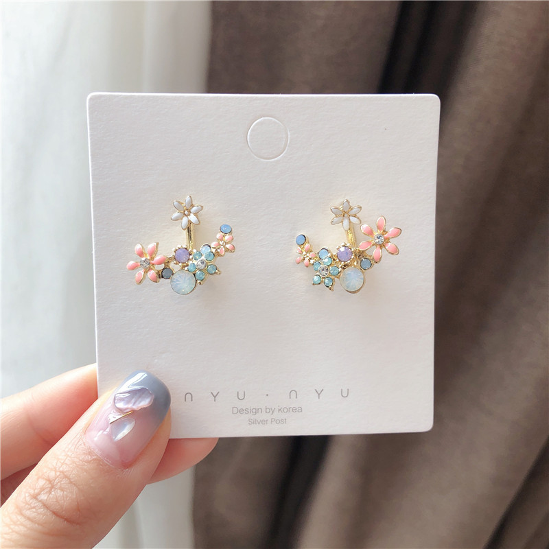 Explosion small fresh flowers micro-drop oil color super fairy earrings