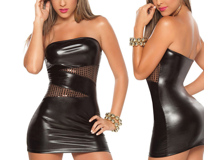 Sexy PU Leather Dress Women Sleepwear Backless Sleeveless Sheath Bodycon Look Nightwear Party Club Pencil Dress Black image