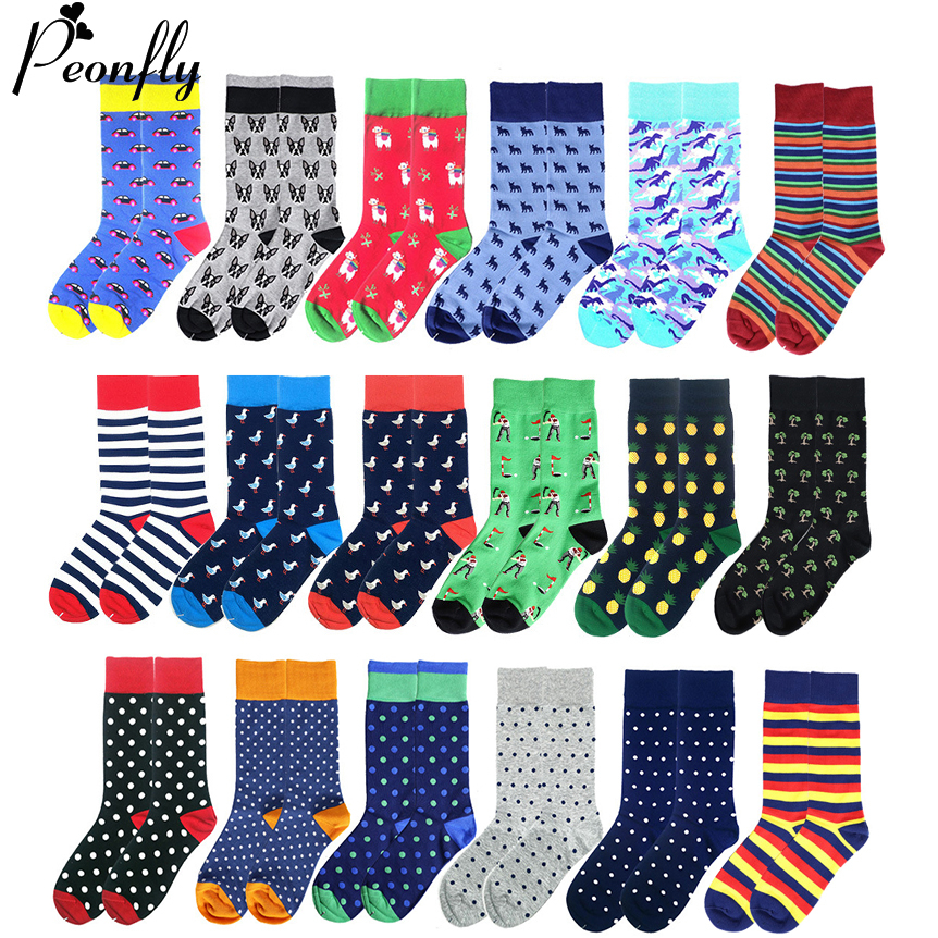 PEONFLY Novelty 2020 New Hip Hop Cotton Men's Socks Harajuku Happy Funny Cartoon Geometry Printed Socks For Male Wedding Gift
