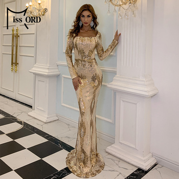Missord 2020 Women Elegant Square Collar Sequin Evening Party Dress Sexy Backless Gold Maxi Dress Female Bodycon Dresses M0870 missord 2020 women sexy deep v neck backless sequin dress women sleeveless maxi dress bodycon evening party dress vestido m0449