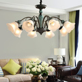 Американская Ретро Керамическая люстра для гостиной  столовой  спальни  европейская роскошная креативная Цветочная стеклянная люстра