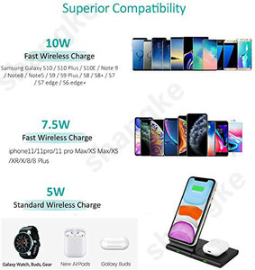 Image 3 - Wireless Charger for Samsung Galaxy Watch 42m/ 46mm S2 S3 S4 iPhone Xs X Galaxy S10 S9 S8 Mobile Phone Wireless Charger Pad 10W