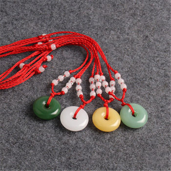 Natural Multicolor Jade Doughnut Pendant Agate Necklace Fashion Accessories Charm Jewellery Carved Amulet Gifts for Women Men A2 image