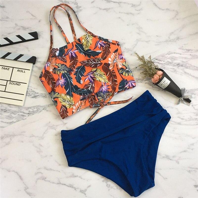 Bknin High Waist High Neck Bikini Push Up Bandeau Bikini Set Push-up Brazilian Swimwear Palm Leaf Print Bandage String Swim Wear 1