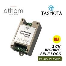 Релейный модуль ATHOM Tasmota, 2-канальный модуль Wi-Fi, переключатель с автоблокировкой, управление входом, 5 В, 12 В, 8-80 В постоянного тока