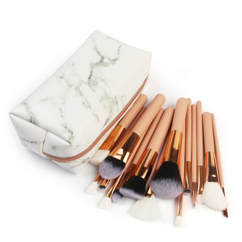 Style Marble Multi-Function Makeup Brushes Bag Travel Zipper Storage Cosmetic Bag Toiletry Pencil Case