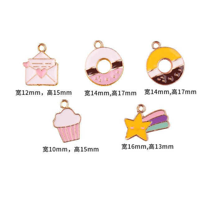10pcs/lot  Donut Envelope Star Cake  Enamel Charms Fashion Jewelry Earring Bracelets DIY Making Golden Base