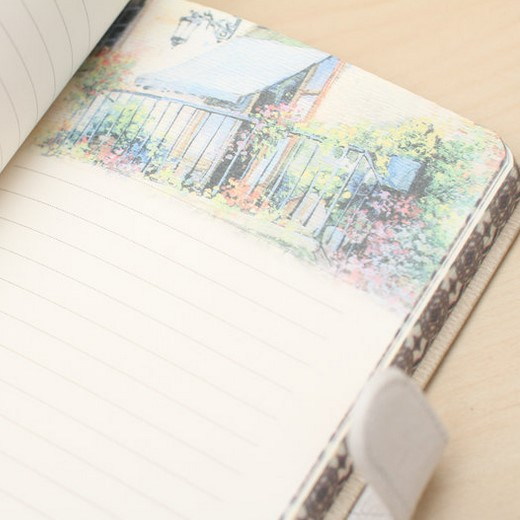 1pc Hand Painted Multi Color Illustration Blank Notebook Magnetic