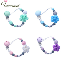 Pacifier Chain Silicone Beads Flower Pendant Strap Nipple Teether towel support pacifier clips Gift