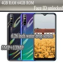 Versão global nota 8t 5mp + 13mp 6.26 polegada gota de água android telefones celulares smartphones 4g ram 64g rom desbloqueado barato celulares