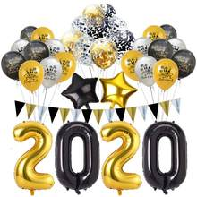 2020 Number Foil Balloon Black Gold Digit Helium Baloons Happy New Year Christmas Party Decor Globos DIY Home Ornaments Decor(China)