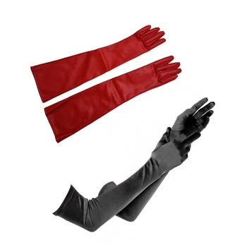 1 Pair Of Stylish Red Solid Color PU Leather Long Gloves for Women & 1 Pair Long Satin Opera Gloves for Dress Up, Cosplay, Photo pair of stylish solid color faux fur fingerless gloves for women
