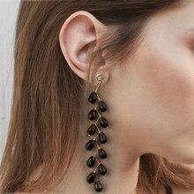 цена на Luxury Rhinestone Crystal Drop Earring For Women Korea Trendy Wheat Ears Gem Long Tassel Earrings Elegant Fashion Jewelry Gift