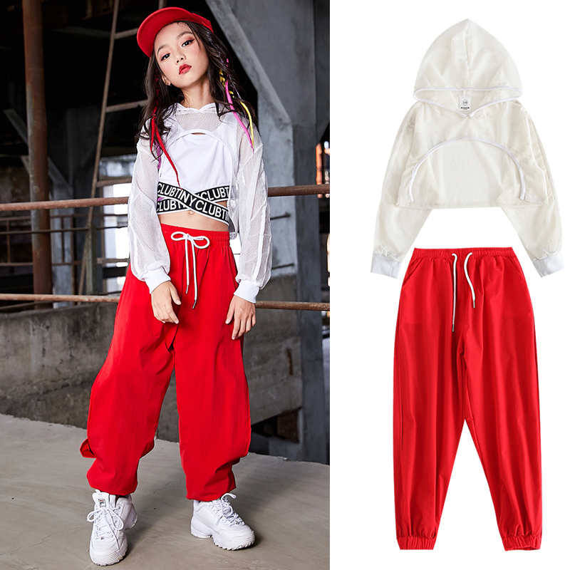 Kids Jazz Dance Costumes White Tops Red Hiphop Pants Hip Hop Clothing For Girls Ballroom Modern Performance Dancewear DQS3356