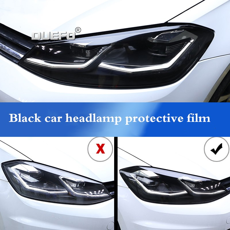 2 pçs tpu transparente adesivo preto farol do carro película protetora para volkswagen lamando toureg tharu tiguan passat lavida
