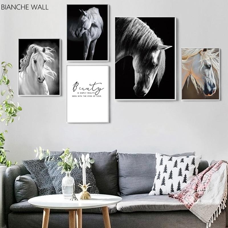 Beyaz at tuval Poster siyah beyaz hayvan duvar sanatı baskı boyama Nordic dekorasyon resim Modern oturma odası dekor
