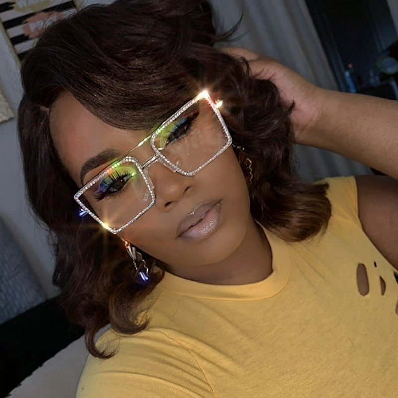 Square Sunglasses Clear Shades Nerd Plain Transparent Women Fashion Frame Metal