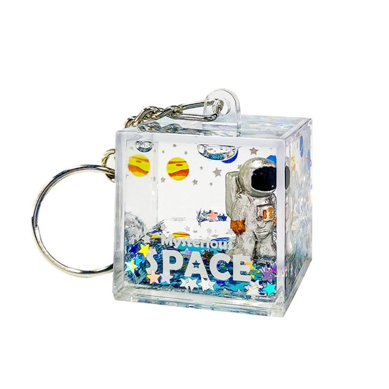 Mysterious Space Quicksand Square Keychain Astronaut Bag Charm Keyring Jewelry Glitter Moving Liquid Key Ring Creative Gift