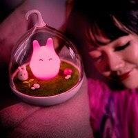 Luz LED de noche de Totoro para Luz Sensor táctil, lámpara de mesita de noche con USB para bebé, regalo creativo para niña, decoración para el hogar y el dormitorio