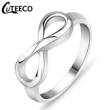 Cuteeco Silver Color Infinity Ring Eternity Charms Best Friend Gift Endless Love Symbol Fashion Rings For Women