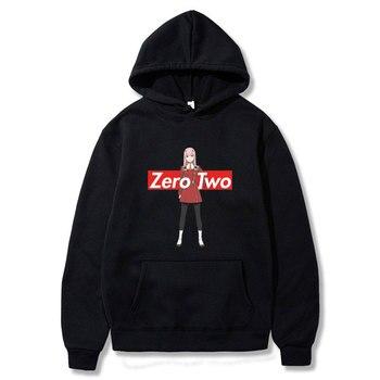 Zero Two Hoodie Darling In The Franxx Printed Hoodies for Men/Women Fashion Hoodie Men Casual Loose Hooded Sweatshirt casual cross at back sleevless hoodie sweatshirt in grey