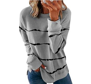 2020 New Autumn Tops 5XL Large Size Women Tie Dye Stripe T Shirt Casual Long Sleeve Oversized Loose Tee Shirt Fashion Ladies Top - style6, M