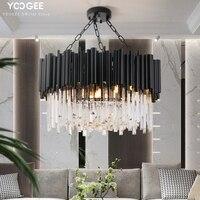 Modern Crystal Chandelier Lighting Round Black hanging Light For Living Room Luxury Home Decoration LED Cristal DE Lustres
