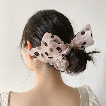 Fashion Dots Organza Scrunchies For Women Girls Large Size Rubber Bands Hair Scruncie Tie Bows Headwear 2020 - discount item  20% OFF Headwear