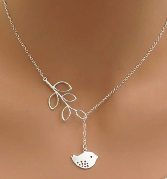 Hot Fashion Casual Personality Brand Leaf Bird Lariat Necklaces Pendants Bar Simple Leaf Bird Choker Necklaces For Women