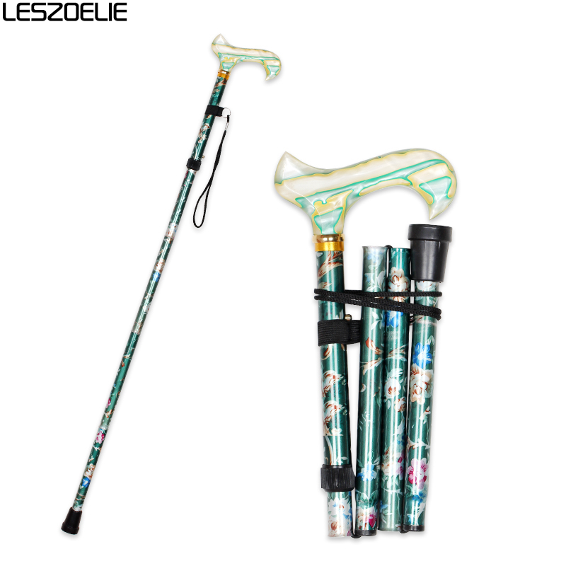 Women Luxury Walking Stick 2020 Fashion Decorative Walking Canes Lady Flowers Printed Adjustable Walking Stick Female Cane
