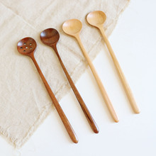 Dessert Spoons Wooden Salt Sauce-Sauce Mouth-Mixing-Spoon Long-Handle Round