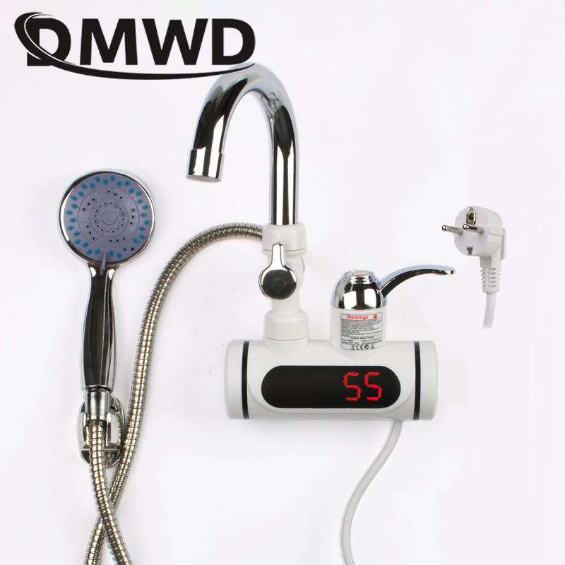 DMWD 3000W Temperature Display Instant Hot Water Heater Faucet Kitchen Instantaneous Tankless Electric Cold Heating Tap Shower