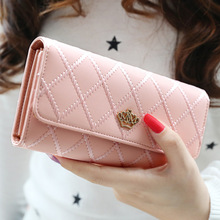 Explosion women's wallet long section Korean buckle lingge tri-fold crown bill holder lady clutch bag wallet card holder