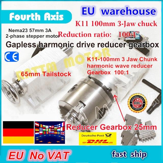 DE schiff/freies MEHRWERTSTEUER 4th drehachse Gapless harmonic minderer Getriebe 3 kiefer K11 100mm teilapparat & Reitstock für CNC ROUTER MASCHINE