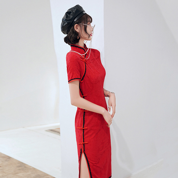 2020 New Mid-Length Red Cheongsam Chinese Style Fresh And Improved Dress Slim Daily Stretch Cotton Cheongsam традиционное китайское платье brand new peking cheongsam ccw005