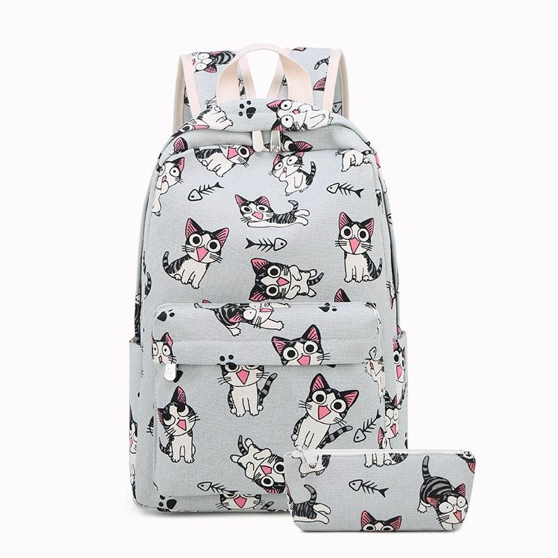 New 2pcs/set Schoolbag Cute Student School Backpack Printed Waterproof Bagpack Primary School Book Bags For Teenage Girls Kids