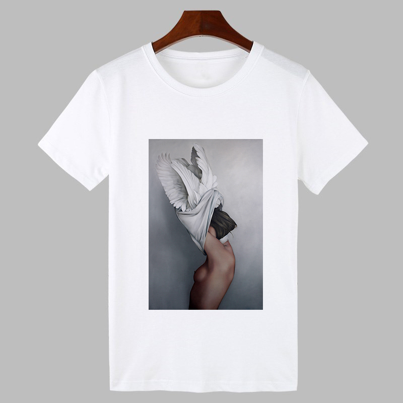 Women Clothes Summer Tshirt Casual Women Clothes Sexy Flowers Feather Print Harajuku O-neck Short Sleeve T-shirt White Aesthetic