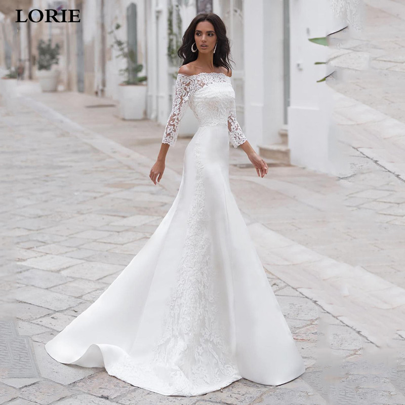 LORIE 2 Pieces Mermaid Wedding Dress Satin Lace Bride Dresses Off The Shoulder Vestido De Novia 2019 Wedding Gown
