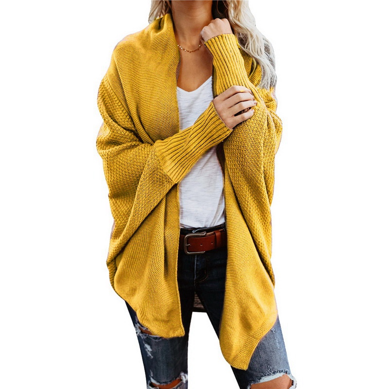 SHUJIN Autumn Winter Batwing Long Sleeve Knitwear Cardigan Women Knitted Sweater Pocket Design Cardigan Female Jumper Coat