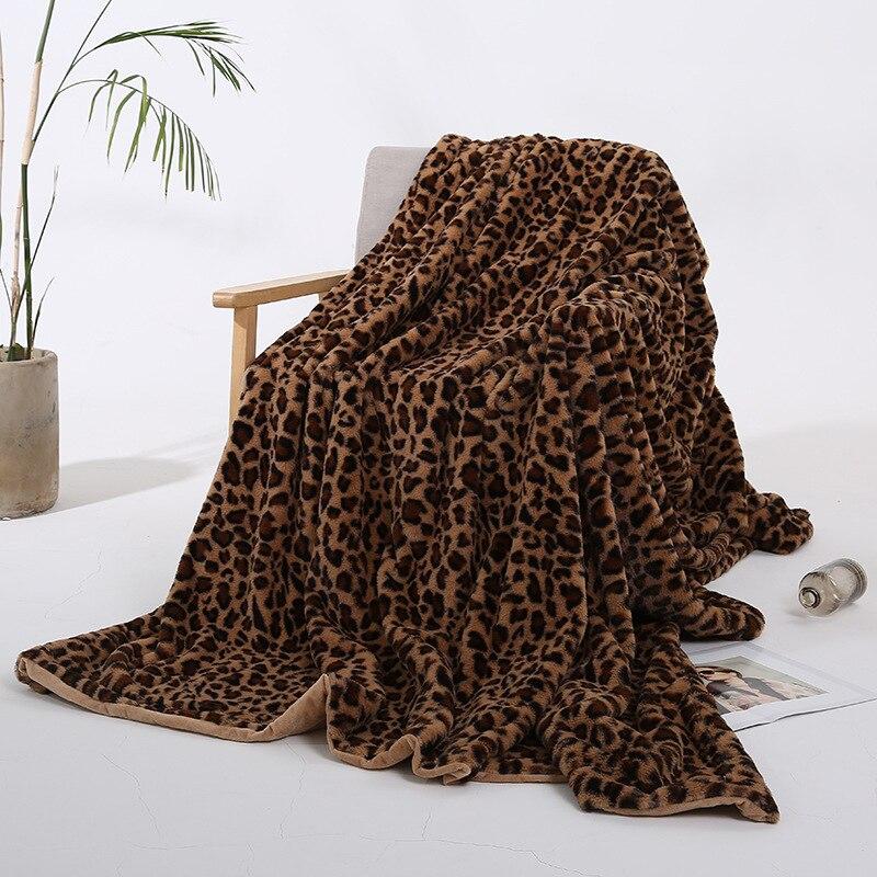 Super doux léopard longue Shaggy fourrure floue fausse couvertures fourrure chaude élégante confortable avec moelleux Sherpa lapin velours jeter couverture