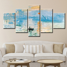 5 Panels Claude Monet Impression Sunrise Famous Landscape Oil Painting on Canvas Art Poster Print Wall Picture for Living Room selflessly wall impressionism monet wild poppy field sunrise landscape canvas painting art print poster picture painting